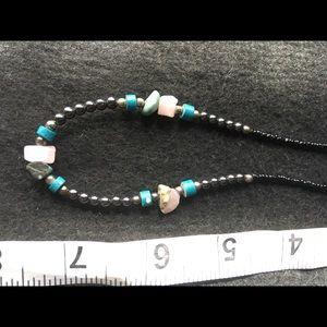 Quartz, turquoise, and hematite choker necklace